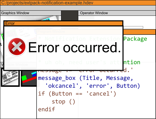 Message box shown with Notification Extension Package für HALCON